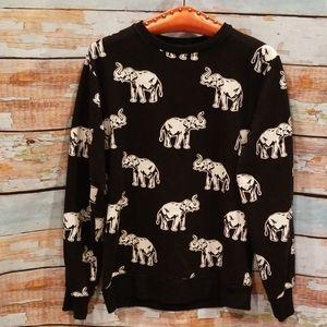 """Forever21 Men Black/White""""Lucky Elephant"""" Sweater!"""
